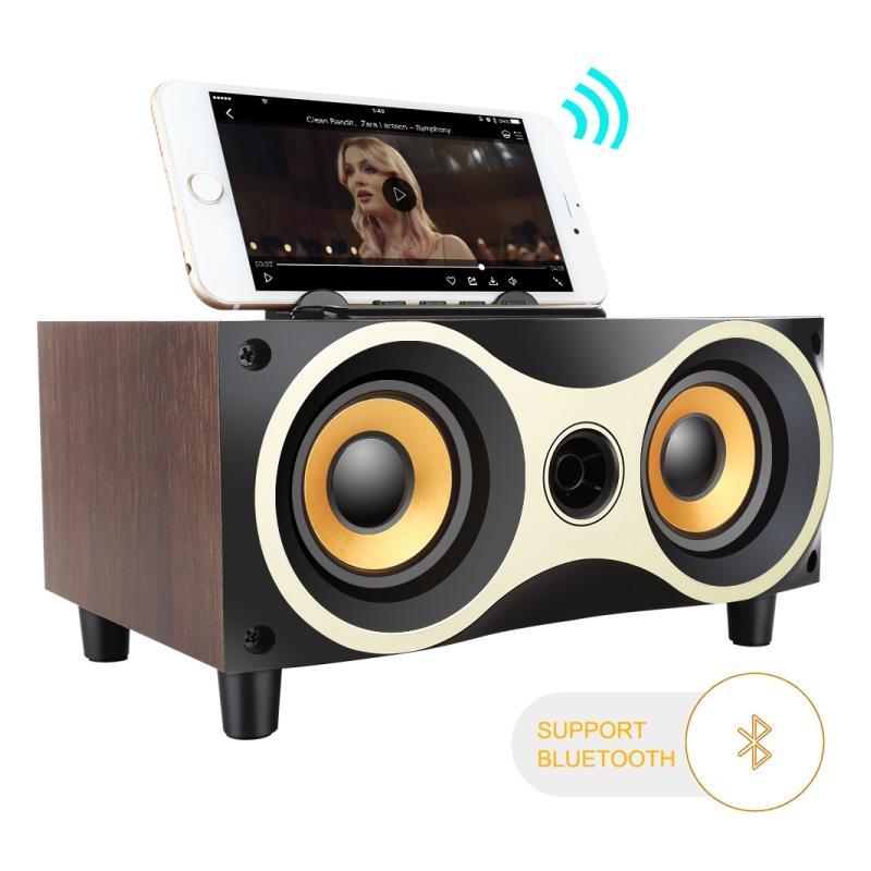 Boxa audio bluetooth cu incinta din lemn