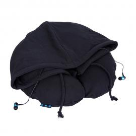 Perna pentru calatorii cu gluga si casti Bluetooth